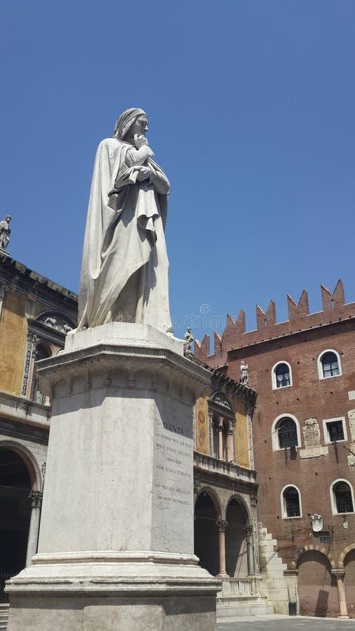 Dante, Verona stock afbeelding