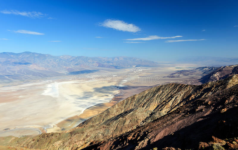 Dantes View, Death Valley. Salt Badwater Basin Panamint Mountains from Dantes View. Death Valley National Park California Lowest spot in the Western Hemisphere royalty free stock photography
