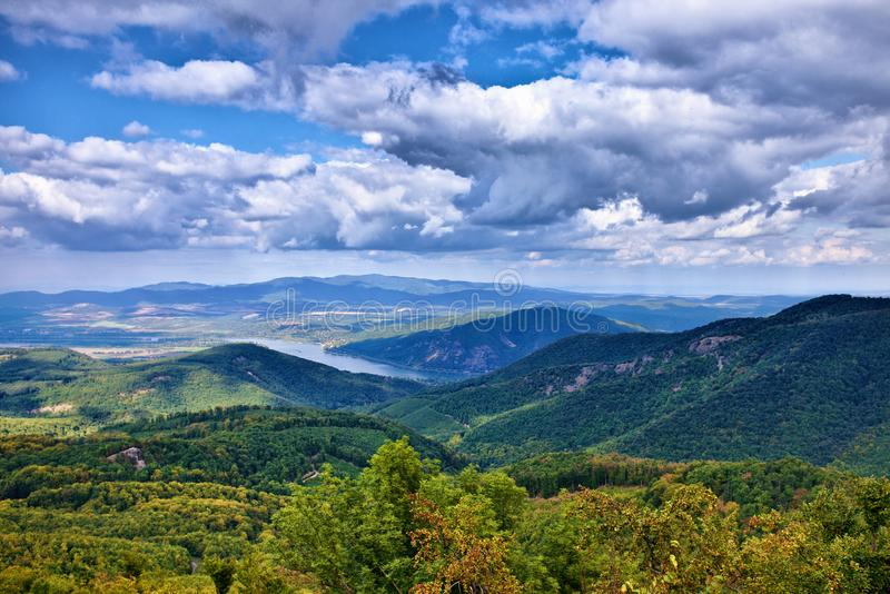 The Danube bend from Dobogoko near to Budapest. A landscape from Hungary royalty free stock photo
