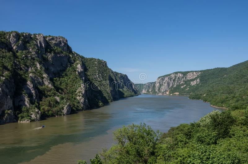 Danube border between Romania and Serbia. Landscape in the Danube Gorges.The narrowest part of the Gorge on the Danube between Se. Rbia and Romania, also known royalty free stock image