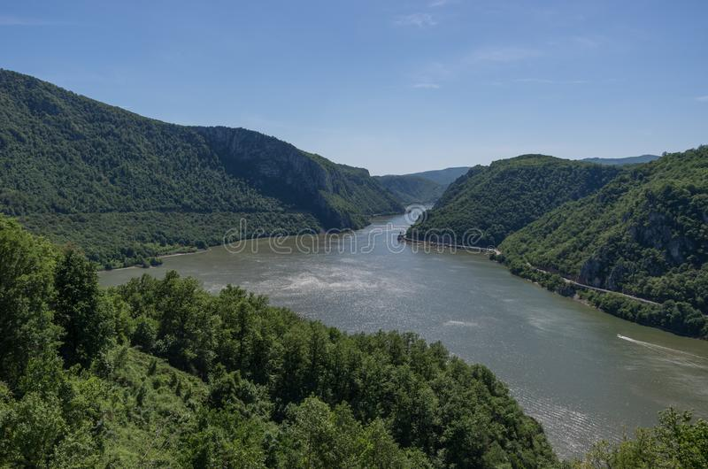Danube border between Romania and Serbia. Landscape in the Danube Gorges.The narrowest part of the Gorge on the Danube between Se. Rbia and Romania, also known royalty free stock images