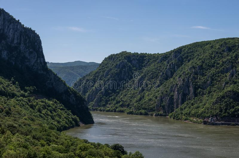 Danube border between Romania and Serbia. Landscape in the Danube Gorges.The narrowest part of the Gorge on the Danube between Se. Rbia and Romania, also known stock photo