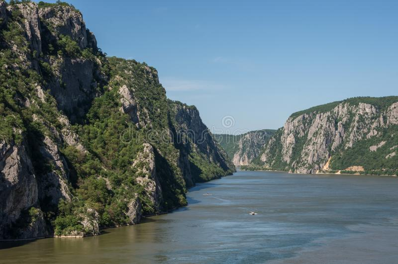 Danube border between Romania and Serbia. Landscape in the Danube Gorges.The narrowest part of the Gorge on the Danube between Se. Rbia and Romania, also known royalty free stock photography