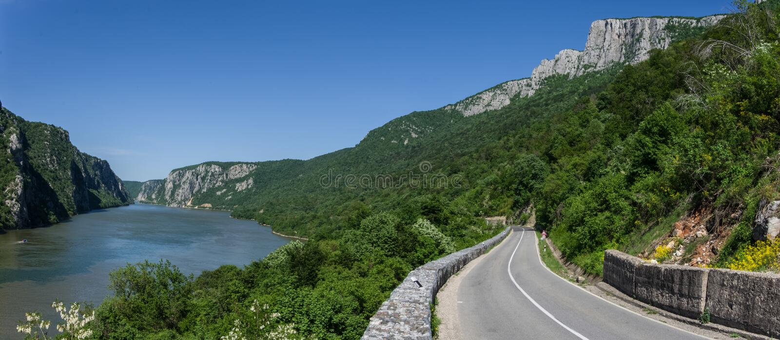 Danube border between Romania and Serbia. Landscape in the Danube Gorges.The narrowest part of the Gorge on the Danube between Se. Rbia and Romania, also known stock photography