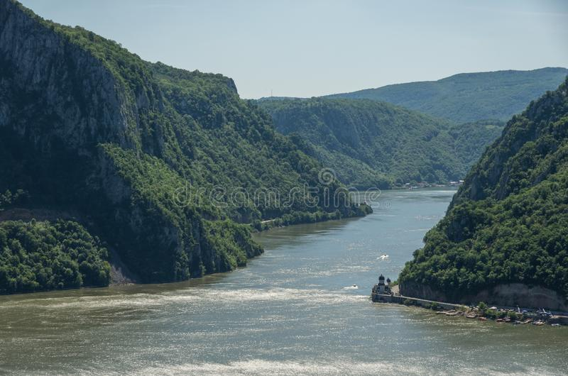 Danube border between Romania and Serbia. Landscape in the Danube Gorges.The narrowest part of the Gorge on the Danube between Se. Rbia and Romania, also known stock images