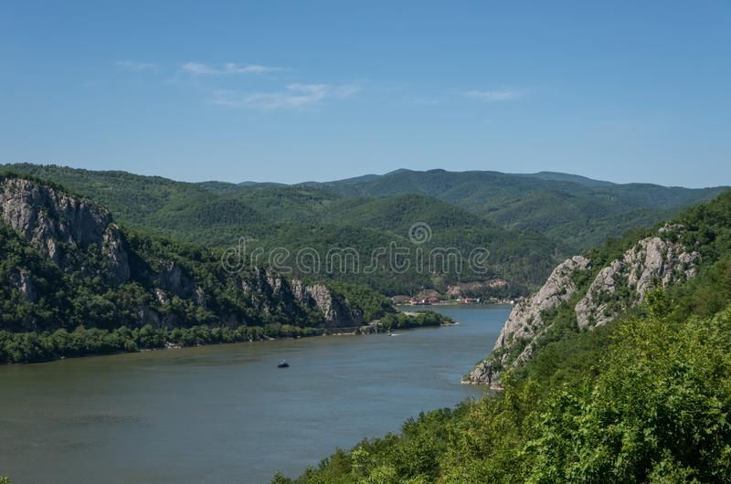 Danube border between Romania and Serbia. Landscape in the Danube Gorges. The narrowest part of the Gorge on the Danube between Serbia and Romania, also known stock photos
