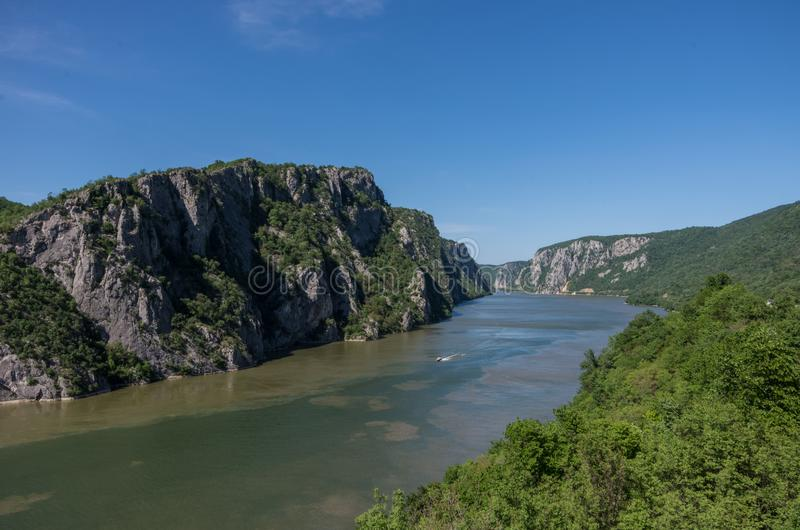Danube border between Romania and Serbia. Landscape in the Danube Gorges. The narrowest part of the Gorge on the Danube between Serbia and Romania, also known royalty free stock photography