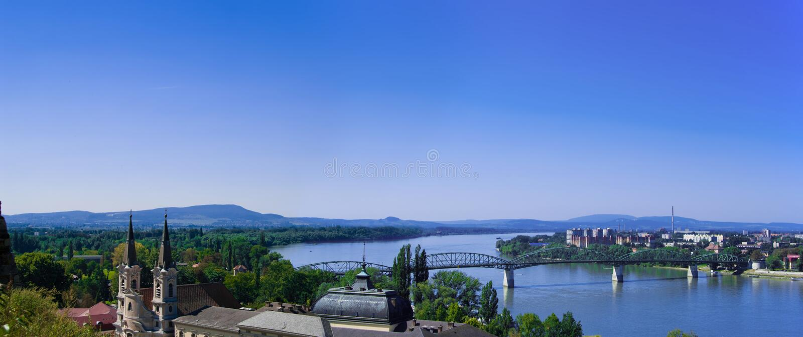 The Danube curve panorama stock photos