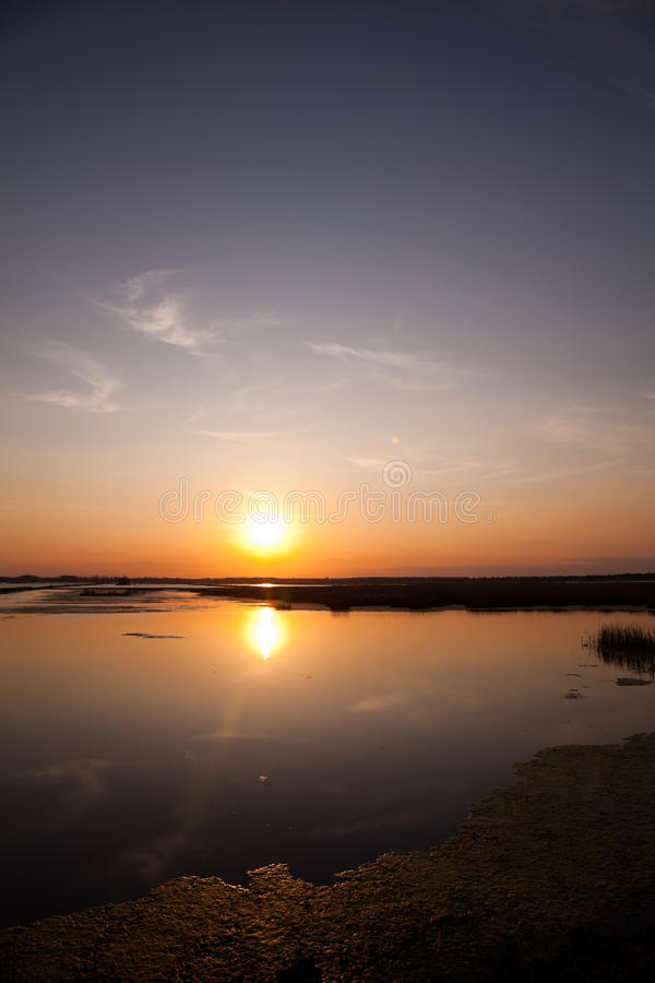 Danube Delta. Beautiful sunset landscape from the Danube Delta Biosphere Reserve in Romania royalty free stock image