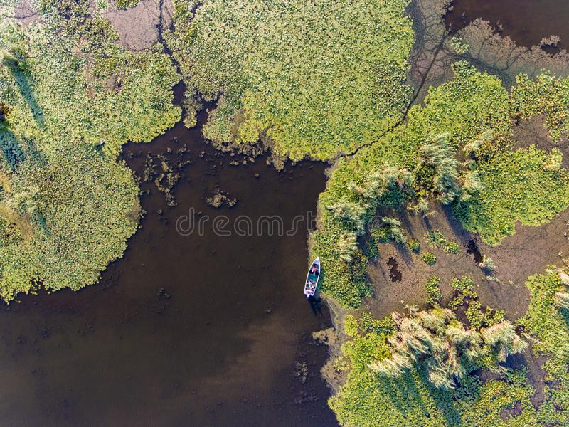 Danube Delta from above panoramic picture (Delta Dunarii) Romania stock photos