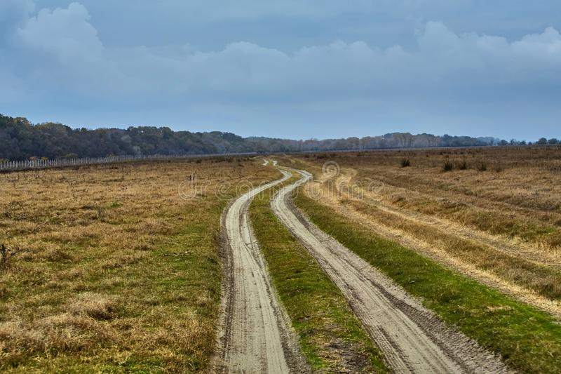 Way to the Letea forest from Danube Delta Biosphere Reserve, Tulcea County, Romania royalty free stock images