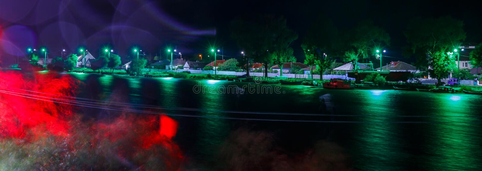 Danube Delta Landscape by night. The Danube Delta is a unique attraction of tourists around the world. Tourists are waiting here with great joy of locals stock image