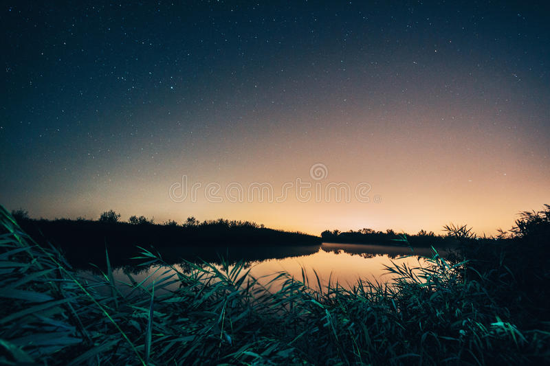 Danube Delta at night. Landscape of Danube Delta at night royalty free stock images