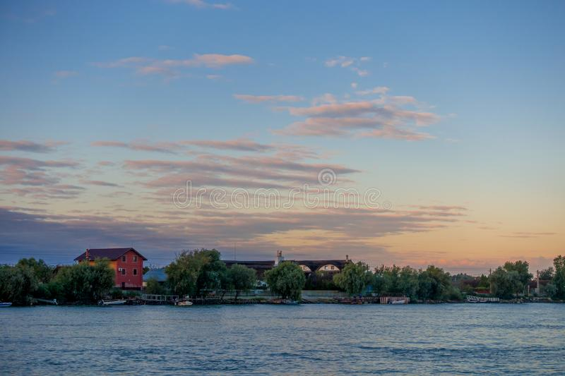 DANUBE DELTA/ROMANIA - SEPTEMBER 25 : A new day dawning over the. Danube Delta Romania on September 25, 2018 royalty free stock images