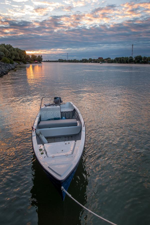 DANUBE DELTA/ROMANIA - SEPTEMBER 25 : A new day dawning over the. Danube Delta Romania on September 25, 2018 royalty free stock image