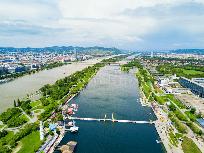 Danube district aerial, Vienna royalty free stock image