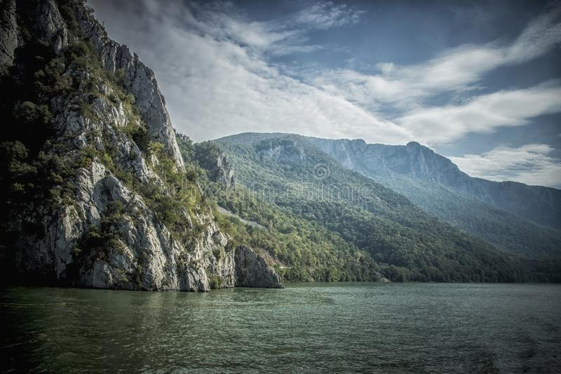Danube at Djerdap gorge. Blue Danube and nature in Djerdap gorge in Serbia stock photo
