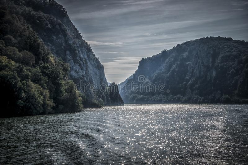 Danube at Djerdap gorge. Blue Danube and nature in Djerdap gorge in Serbia stock image