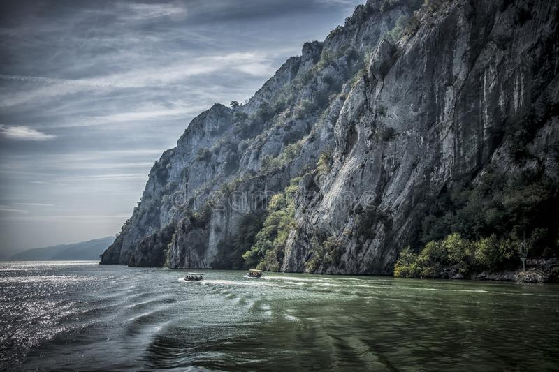 Danube at Djerdap gorge. Blue Danube and nature in Djerdap gorge in Serbia royalty free stock images