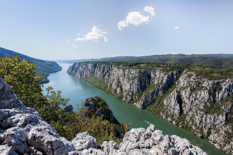 Danube gorge, Danube in Djerdap national park, Serbia. Danube gorge iron gate on the Serbian-Romanian border. The Djerdap Gorge is one of the largest gorges in stock image