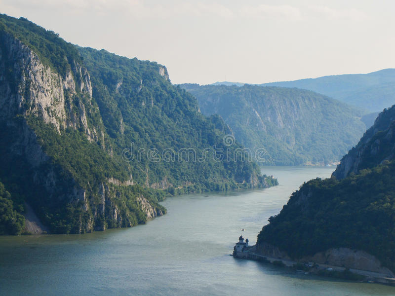 Danube Gorge Djerdap. Danube canyon known as Djerdap Gorge between Serbia and Romania. The place on the picture is known as Veliki kazan. Djerdap measn iron gate stock photography