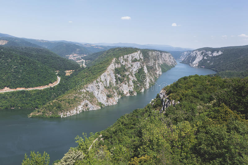 Danube gorges. Danube in Djerdap National park, Serbia. Danube gorge iron gate on the Serbian-Romanian border. Landscape in the Danube Gorges seen from the royalty free stock photography
