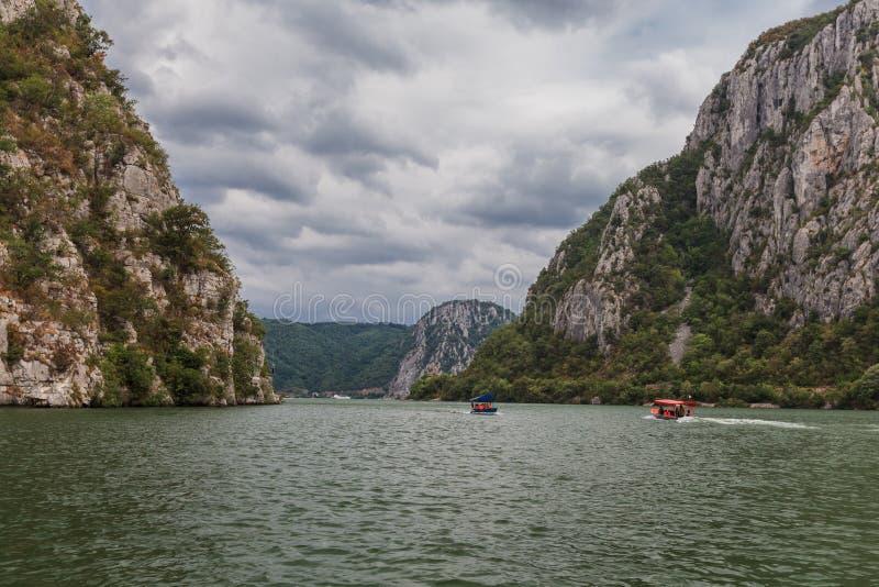The Danube Gorges. Landscape in the Danube Gorges. Cazanele Mari, Romania stock photos