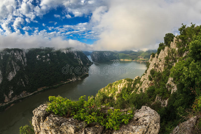 The Danube Gorges. Landscape in the Danube Gorges Cazanele Mari seen from the Romanian side royalty free stock images