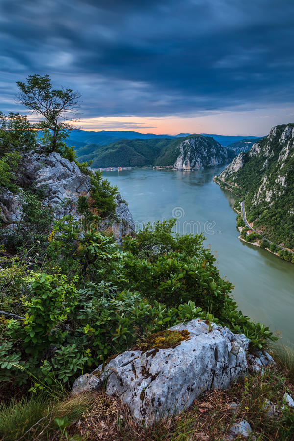 The Danube Gorges. Landscape in the Danube Gorges Cazanele Mari seen from the Romanian side royalty free stock photography