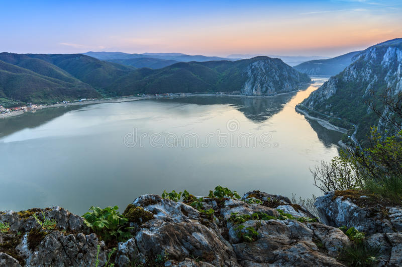 The Danube Gorges, Romania. Landscape in the Danube Gorges. Cazanele Mari seen from the Romanian side stock image