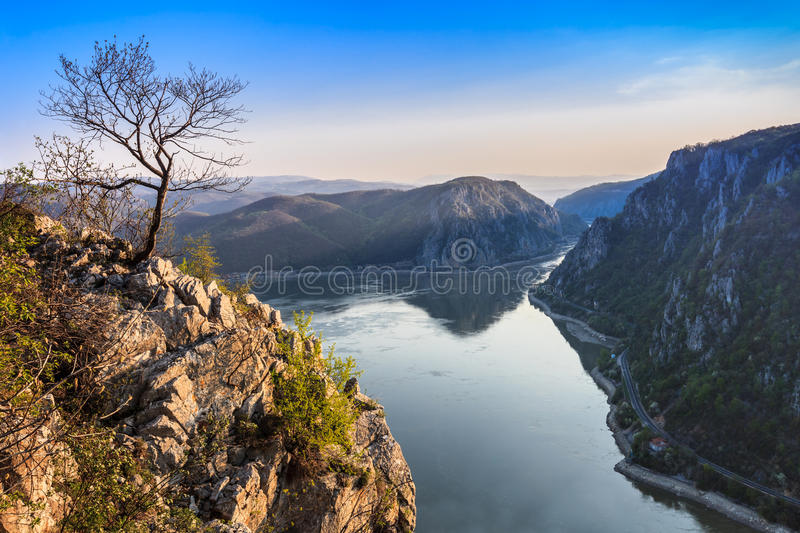The Danube Gorges, Romania. Landscape in the Danube Gorges. Cazanele Mari seen from the Romanian side stock photo