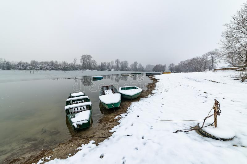 Danube island Šodroš near Novi Sad, Serbia. Colorful landscape with snowy trees, beautiful frozen river. A boats covered with sn. Ow or submerged royalty free stock photography