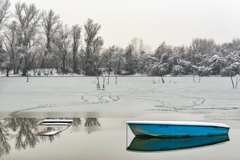 Danube island Šodroš near Novi Sad, Serbia. Colorful landscape with snowy trees, beautiful frozen river. A boats covered with sn. Ow or submerged stock photos