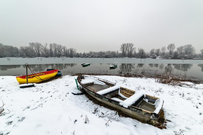 Danube island Šodroš near Novi Sad, Serbia. Colorful landscape with snowy trees, beautiful frozen river. A boats covered with sn. Ow or submerged royalty free stock photo
