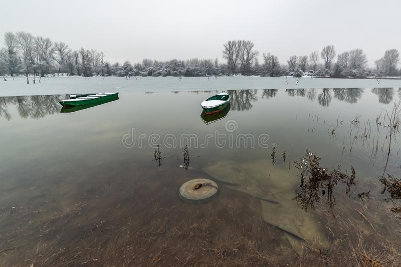 Danube island Šodroš near Novi Sad, Serbia. Colorful landscape with snowy trees, beautiful frozen river. A boats covered with sn. Ow or submerged stock image