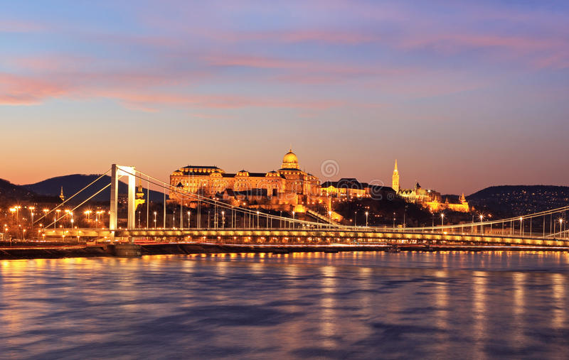Danube panorama z Elisabeth mostem obraz royalty free