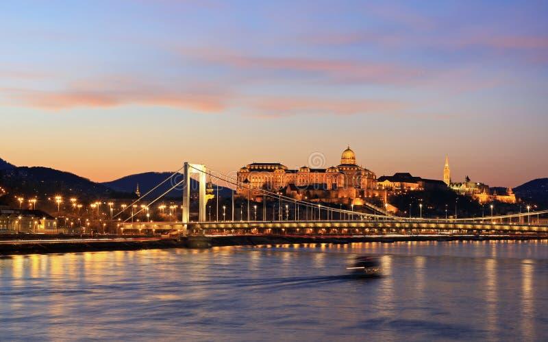 Danube panorama z Elisabeth mostem obraz stock