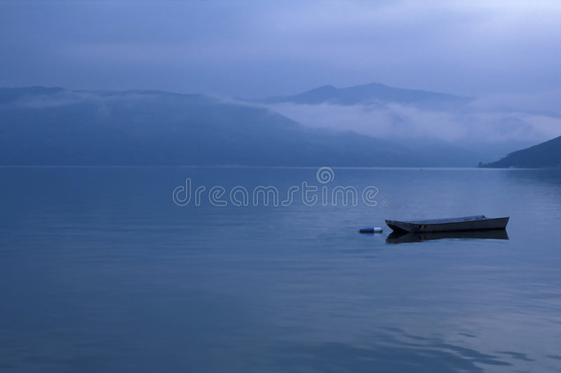 Danube River. Fisherboat on Danube River, Southern Carpathians, Romanian - Serbian borderline royalty free stock photo
