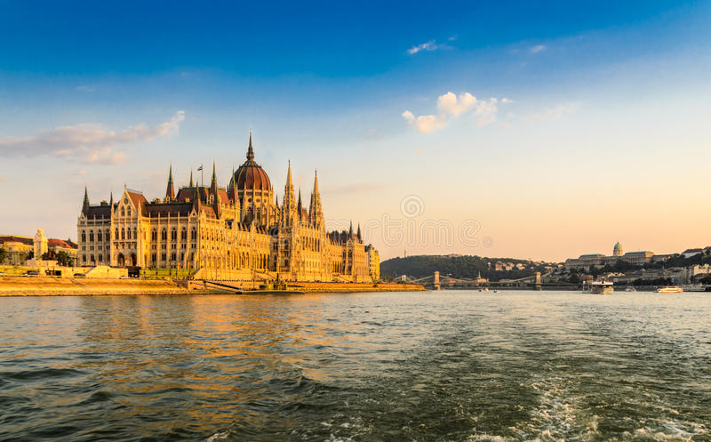 Danube River. The Danube River in Budapest, with the House of Parliament royalty free stock image