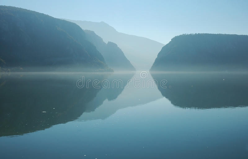 Danube river and the Cazanele gorge stock image