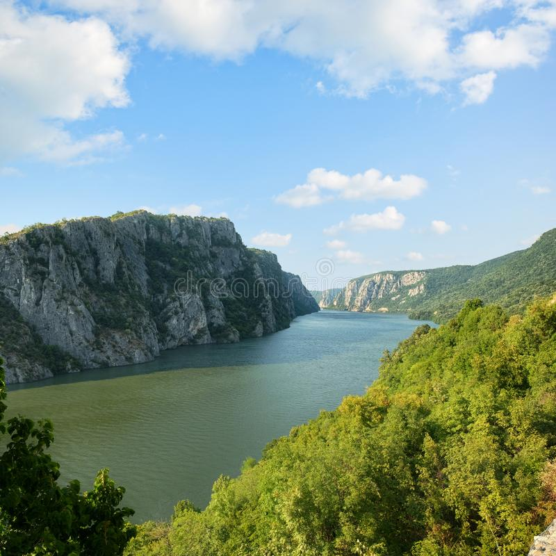 Danube River Cloudscape, Romania And Serbia. Danube River romanian coast from Iron Gate National Park under cloudscape, Serbia stock photos