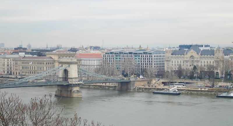Danube River embankment from Buda castle in Budapest on December 29, 2017. BUDAPEST, HUNGARY - DECEMBER 29, 2017: Danube River embankment from Buda castle in royalty free stock photo