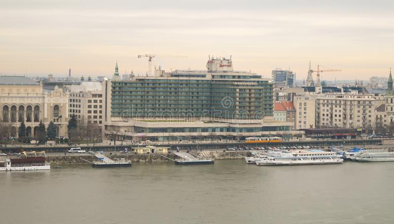 Danube River embankment from Buda castle in Budapest on December 29, 2017. BUDAPEST, HUNGARY - DECEMBER 29, 2017: Danube River embankment from Buda castle in stock image
