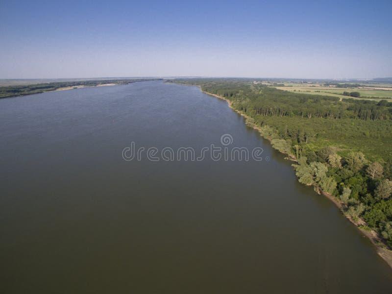 Danube River flyg- sikt royaltyfria foton