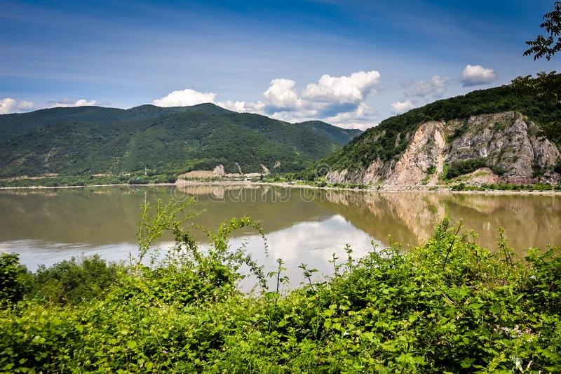 Danube river gorge in national park Djerdap in Serbia. Serbian and Romanian border stock photos