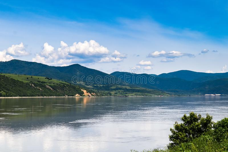 Danube river gorge in national park Djerdap in Serbia. Serbian and Romanian border royalty free stock photos