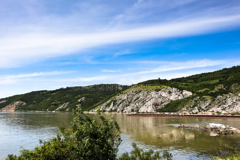Danube river gorge in national park Djerdap in Serbia. Serbian and Romanian border stock image