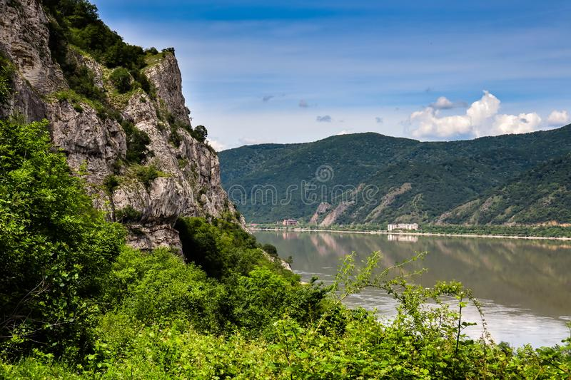 Danube river gorge in national park Djerdap in Serbia. Serbian and Romanian border royalty free stock image