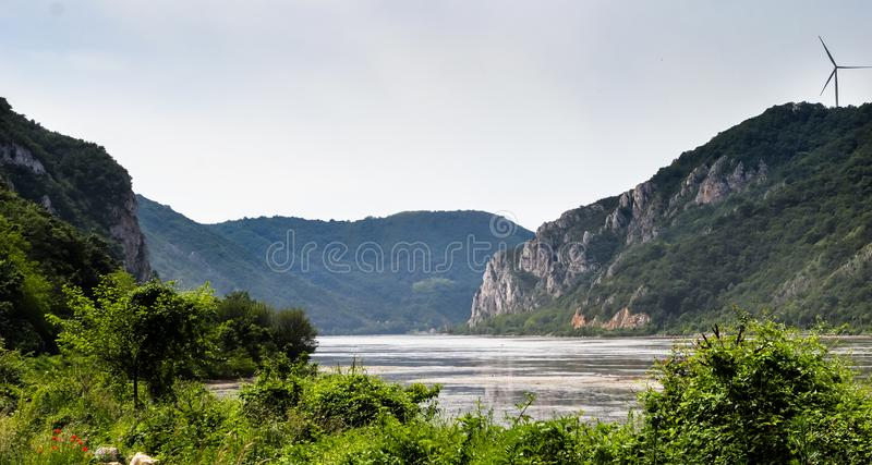 Danube river gorge in national park Djerdap in Serbia. Serbian and Romanian border stock photo