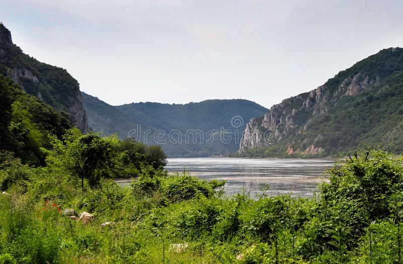 Danube river gorge in national park Djerdap in Serbia. Serbian and Romanian border royalty free stock images